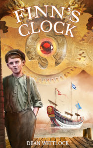 Finn's Clock cover art showing Finn and a wharf and the Chinese Junk anchored in the background below a backdrop of elaborate clockwork.