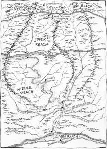 Map by Sally Duston of Carver's world, from Sky Carver by Dean Whitlock