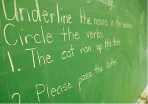Blackboard with grammar lesson