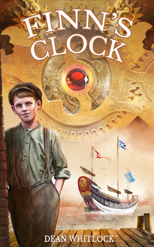cover of Finn's Clock showing Finn on a wharf, with the Chinese junk in the background, below brass clockworks capped surrounding a blood-red gemstone